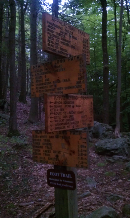 the new york long path meets the appalachian trail .. turn right and 51 miles to manhattan