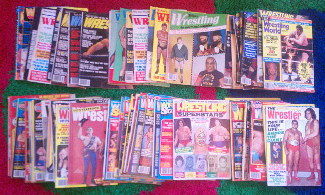 77 vintage wrestling magazines .. scored for $25 ..  have i died and gone to heaven