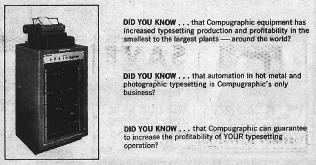 compugraphic associated press offsetter typesetting advertisement